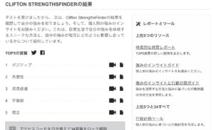 CLIFTON STRENGTHSFINDERの結果
