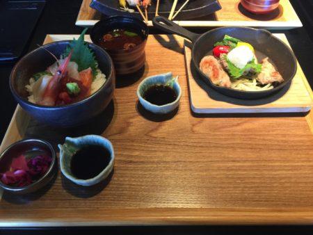 豚ヘレ鉄板焼きおろしぽん酢と海鮮丼