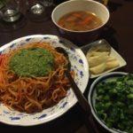 トマトバジルスパとセロリのサラダと素揚げのジャガイモ
