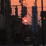 四条畷のとある交差点で見た不思議な夕陽